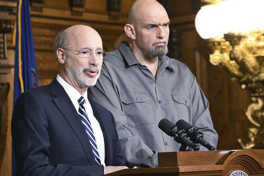 """Gov. Tom Wolf speaks with Lt. Gov. John Fetterman about a """"conversation"""" about legalizing marijuana in Pennsylvania"""