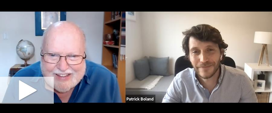 Richard Rohr and Patrick Boland in a side-by-side zoom call.