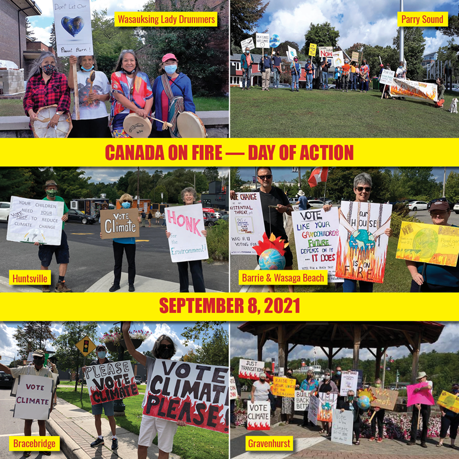 Collage of Canada On Fire Day of Action September 8 Rally from Parry Sound, Barrie & Wasaga Beach, Huntsville, Gravenhurst, Bracebridge, & Wasauksing Lady Drummers.
