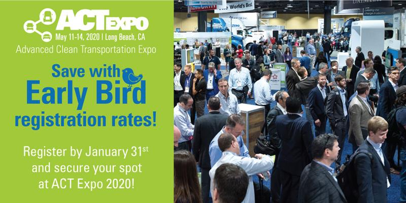 Photo of exhibitors hall with text overlay: Save with Early Bird Registration Rates! Register by January 31st and secure your spot at ACT Expo 2020!