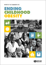 Cover of the WHO report on Ending Childhood Obesity.