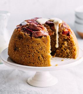 Ginger, orange, rhubarb pudding