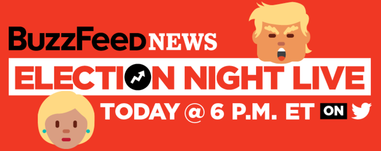 At 6 p.m. ET, we'll kick off our live election-night show on Twitter! You can watch it on desktop or mobile. It'll be awesome, we promise. Keep track of every development with our live updates post, our Twitter feed, and our Facebook feed.
