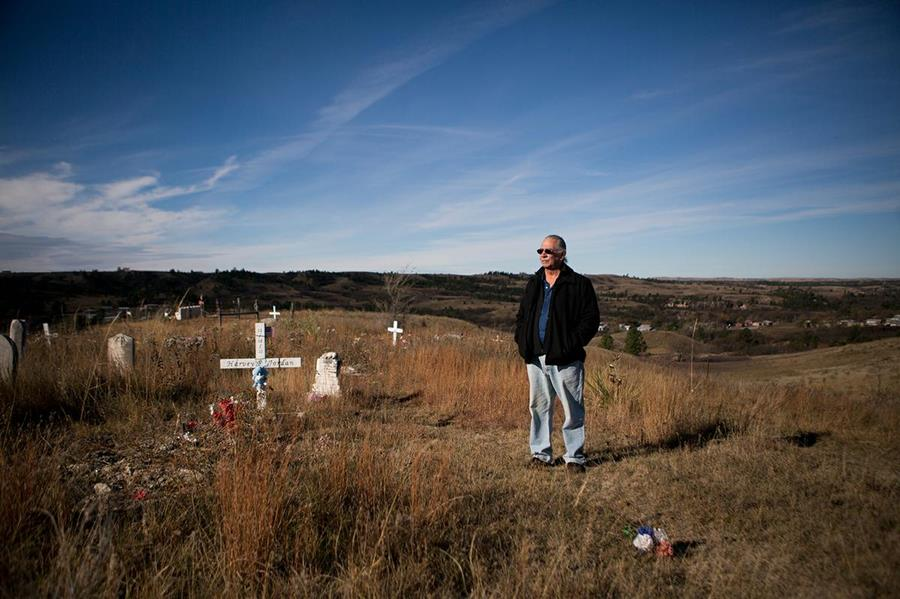 O.J. Semans at a cemetery overlooking Rosebud.