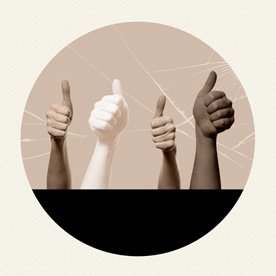 Stock image of four thumbs-up