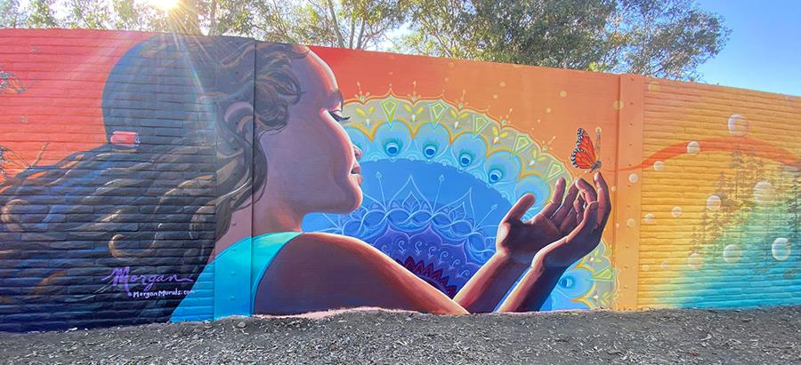Mandala Mural with Girl and Butterfly in San Jose, California