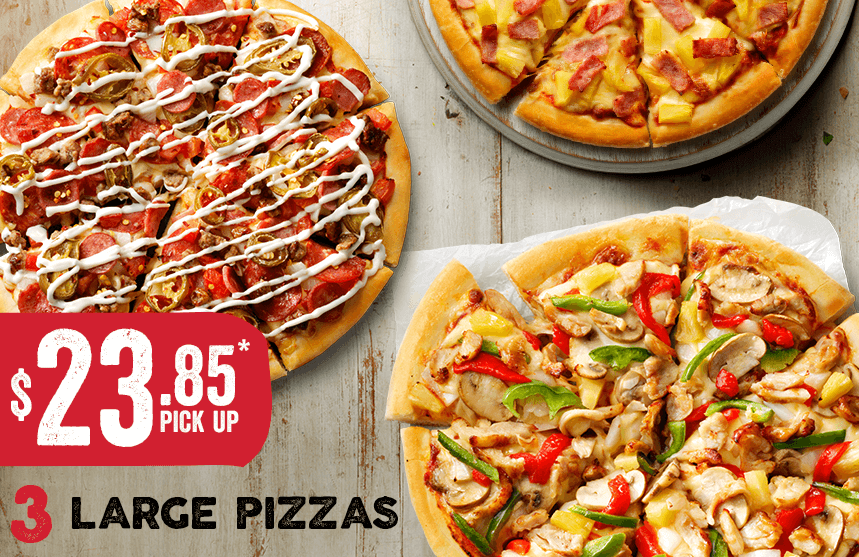 3 Large Pizzas for $23.85 Pick.